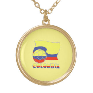 Colombia Soccer Ball and Flag Gold Plated Necklace