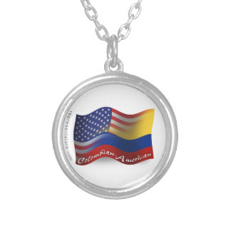 Colombian-American Waving Flag Silver Plated Necklace