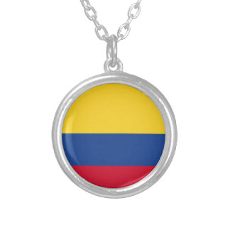 Colombian flag silver plated necklace