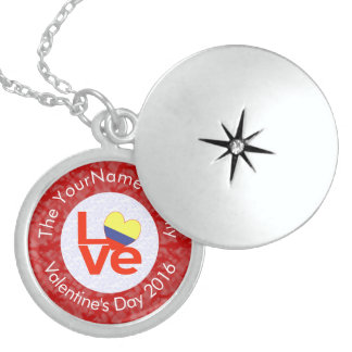 Colombian LOVE White on Red Locket Necklace