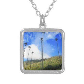 Colombian wax palm trees in the Cocora Valley Silver Plated Necklace