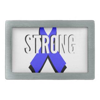 Colon Cancer Blue Ribbon Strong Rectangular Belt Buckles