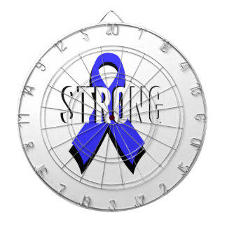 Colon Cancer Blue Ribbon Strong Dartboard