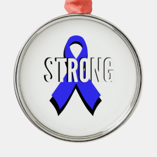Colon Cancer Blue Ribbon Strong Christmas Ornaments