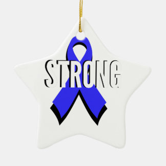 Colon Cancer Blue Ribbon Strong Christmas Tree Ornament