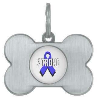 Colon Cancer Blue Ribbon Strong Pet ID Tag