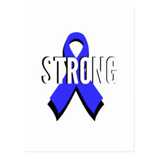 Colon Cancer Blue Ribbon Strong Post Card