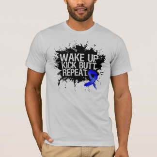 Colon Cancer Wake Up Kick Butt Repeat T-Shirt
