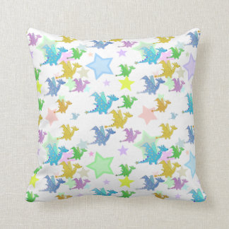 Color Cartoon Dragons Pattern Pillow