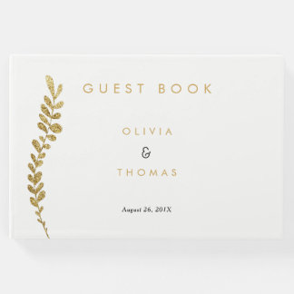Color Editable Faux Gold Leaf Wedding Guest Book