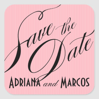 Color Pop Pinstripe Signature Save the Date pink Square Sticker