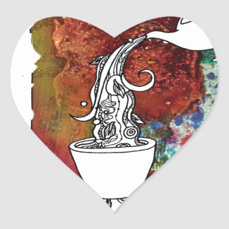 Color Splash Tea! Pour me a Magical Cup of Tea! Heart Sticker
