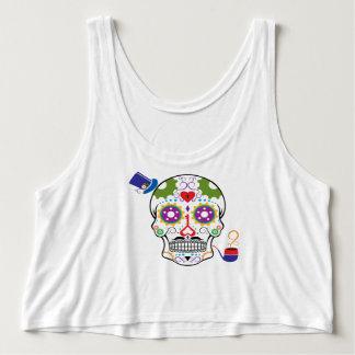 Color Steampunk Sugar Skull Singlet