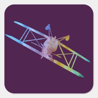 Color-washed Upside Down Stunt Plane Square Sticker