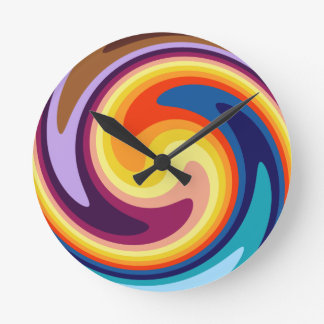 Color Whirl Round Clock