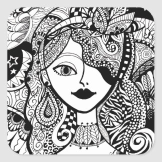 Color Your Own Zendoodle Products Square Sticker