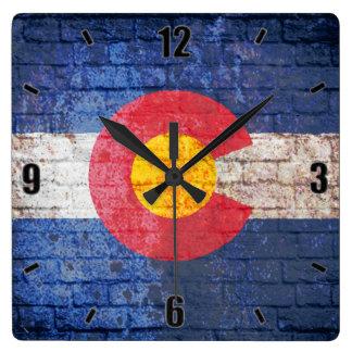 Colorado flag grunge brick wall square wall clock