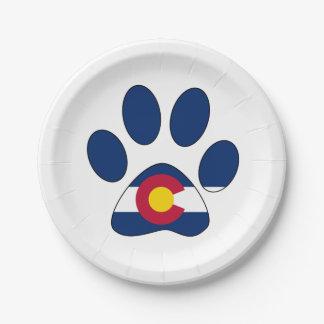 Colorado flag paw print paper plates