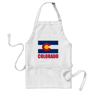 Colorado Flag Red Text Standard Apron