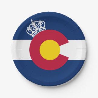 Colorado flag royal crown paper plates