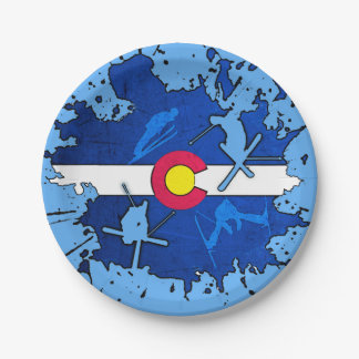 Colorado flag ski splatter paper plates