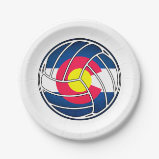 Colorado flag volleyball paper plates