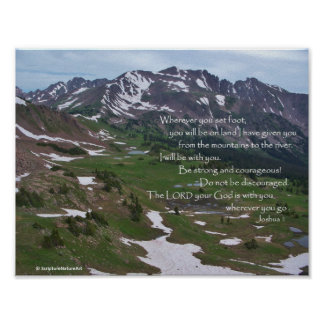 Colorado Mountains, God is with You, Joshua 1, Poster
