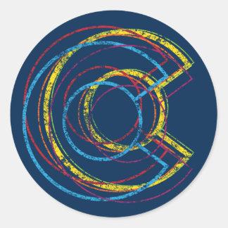 colorado pride blur classic round sticker