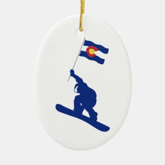 Colorado Snowboard Flag Christmas Ornament