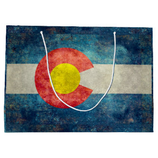 Colorado State flag with vintage retro grungy look Large Gift Bag