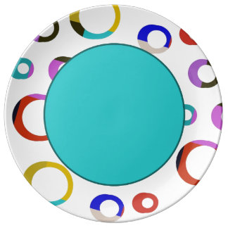 Colorblock Retro Hoops Plate - Turquoise Porcelain Plates