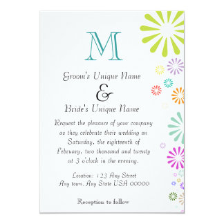 Colorbursts Monogram Wedding Card