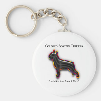Colored Boston Terrier Basic Round Button Key Ring