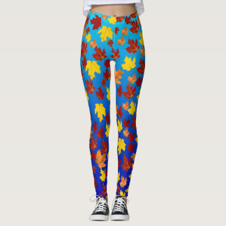 Colored from fall leaves over background with grad leggings