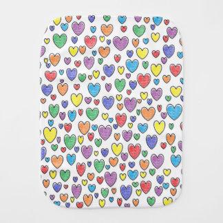 Colored Hearts Burp Cloth