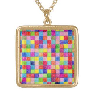 Colored In Graph Paper Squares Square Pendant Necklace