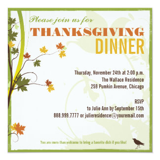 Colored Leaves Thanksgiving Dinner Invitation
