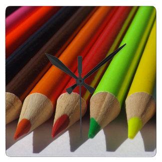 Colored Pencils Macro Square Wall Clock