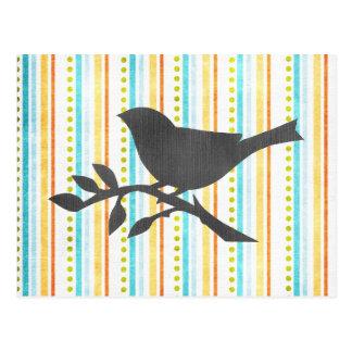 Colored Stripes Bird Postcard
