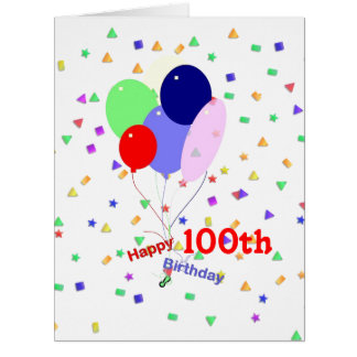 Colorful 100th Birthday Balloons Card