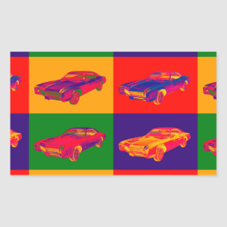 Colorful 1967 Buick Riviera Car Pop Art Rectangular Sticker