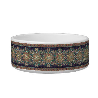 Colorful abstract ethnic floral mandala pattern pet food bowls