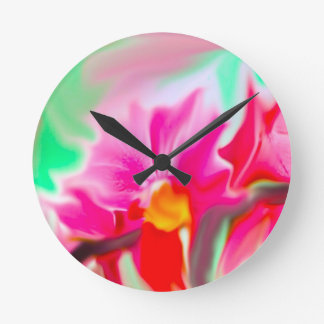 colorful abstract flower round clock