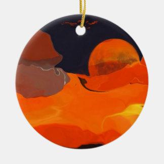 Colorful abstract- ORANGE MOON Round Ceramic Decoration