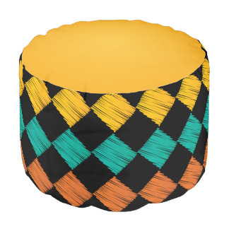 Colorful Abstract Scribble Diamonds Pattern Pouf