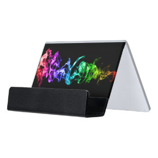 Colorful Abstract Smoke - A Rainbow in the Dark Desk Business Card Holder