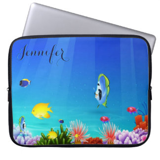 Colorful Aquatic Sea-life Digital Illustration 2 Laptop Sleeve