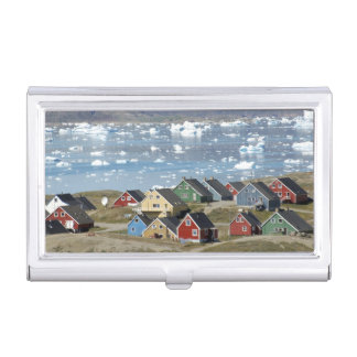 Colorful architecture of the town, Narsaq, Business Card Holder