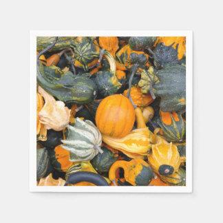 Colorful Autumn Gourds, Squash Disposable Serviettes