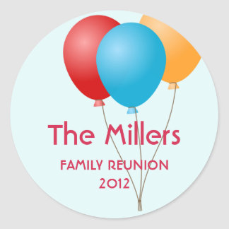 Colorful balloons family reunion party favor label round stickers